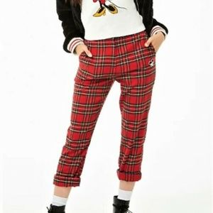 Forever 21 DISNEY pants Red Plaid Mickey Mouse S